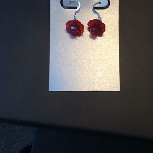Handmade beaded flower earrings